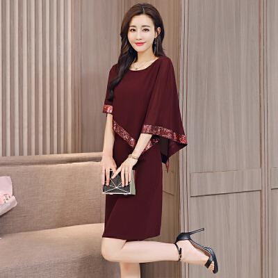 胖子裙女2018新款时尚宽松舒适气质假两件蝙蝠袖显瘦雪纺连衣裙子