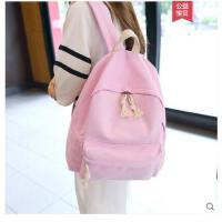 双肩包女包韩版书包百搭中学生包包迷你帆布背包粉色时尚包学院风