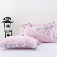 加厚夹棉花边枕套一对绗缝纯棉斜纹加棉单人枕头套2只 47cmx74cm