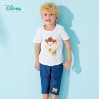 迪士尼Disney童装 男童胡迪印花短袖套装夏季新品男孩体恤哈伦裤2件套192T892