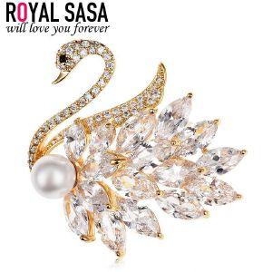 皇家莎莎天鹅胸针胸花女仿水晶别针扣开衫韩国时尚搭配饰品礼物