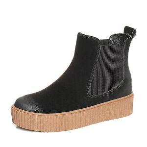 Teenmix/天美意2017冬牛剖层皮/纺织品厚底切尔西靴女短靴80605DD7