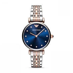 阿玛尼(Emporio Armani)手表 女士混色钢带休闲 水钻小巧石英腕表 AR11092