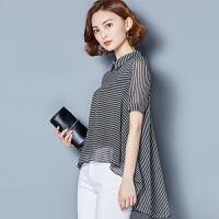 20180828014621130条纹女士上衣2018夏季新款韩版不规则洋气小衫宽松打底衫雪纺衬衫