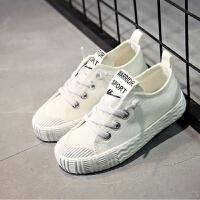 童鞋儿童帆布鞋2018春季新款男童女童幼儿园系带韩版小白鞋潮