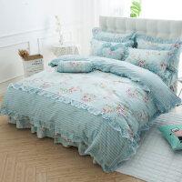 韩版床上用品纯棉床裙床罩四件套公主田园1.8米/1.5m床