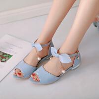 女童凉鞋夏季新款蝴蝶结公主鞋小女孩高跟儿童表演大童凉鞋