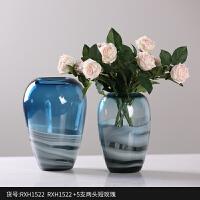 透明渐变色玻璃花瓶 蓝色水培插花器 家居客厅餐桌创意装饰品摆件