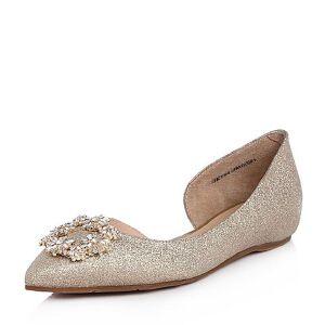 Tata/他她2018春专柜同款亮片布水钻尖头平底浅口女鞋2K7B4AK8