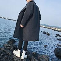 2018新款风衣男士春秋呢子外套韩版中长款学生潮流披风大衣帅气 深灰色