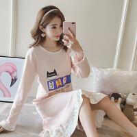 睡裙女秋季长袖韩版清新学生可爱女士春秋季可外穿家居服睡衣