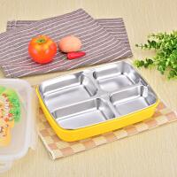 学生分格不锈钢饭盒 韩国带盖餐盒304儿童保温便当盒简约食堂餐盘