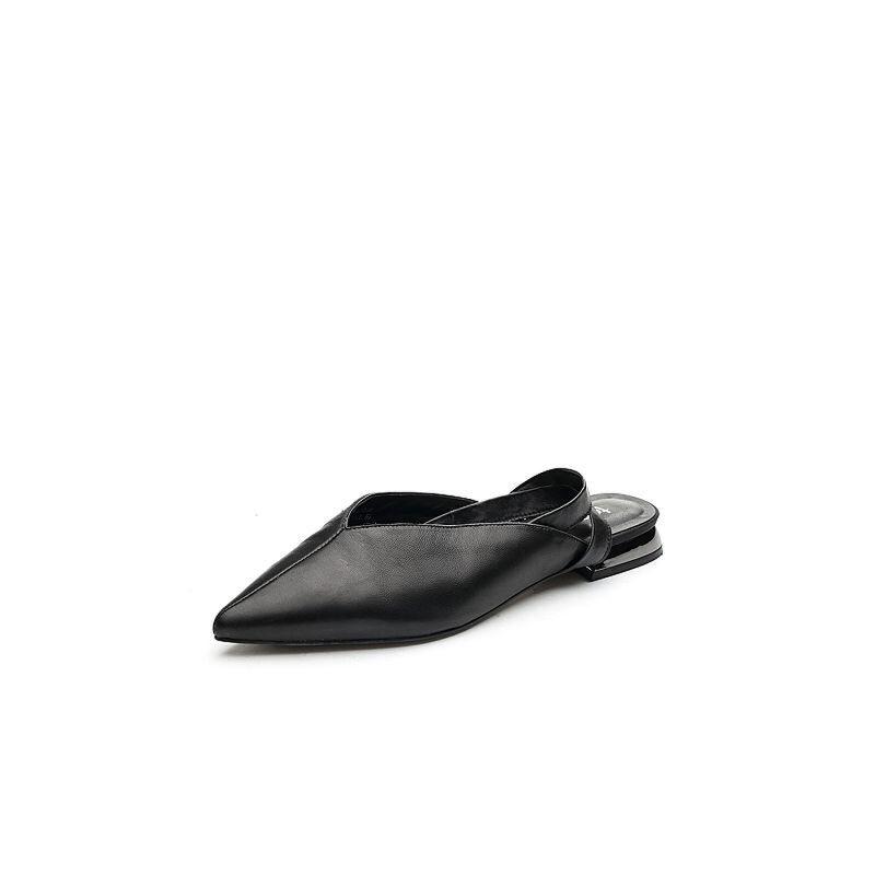 Teenmix/天美意2018春专柜同款小V口绑带鞋后空女凉鞋AQ731AH8