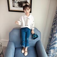 童装女童秋装套装中大儿童女孩洋气衬衫牛仔裤时髦两件套