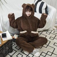秋冬女装韩版学生可爱少女加绒保暖长袖睡衣套装家居服两件套加厚 均码