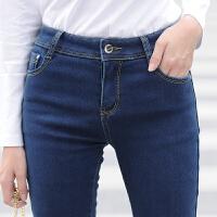 冬季加绒加厚牛仔裤女长裤中高腰弹力显瘦小脚铅笔裤大码 深蓝色 加绒加厚