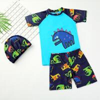 男孩分体宝宝速干温泉泳裤泳帽 儿童泳衣短袖套装男童泳装防晒