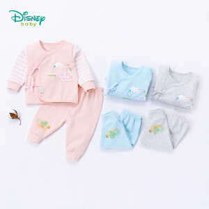 【卷后139元3件】迪士尼Disney婴儿条纹拼接新生儿绑带上衣套装男女宝宝两用裆长裤两件套 183T811