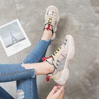 运动鞋女2018秋季新款百搭学生韩版爆款格子鞋平底复古休闲老爹鞋