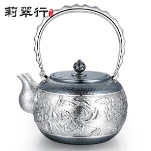 莉翠行 牡丹花银壶 日本工艺茶壶 990银手工烧水壶 大容量煮水提梁壶 约770克
