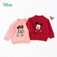 【2件3折到手价:67.5】迪士尼Disney童装女童保暖针织衫米奇米妮圆领套头毛衣秋季新款纯棉上衣193S1255