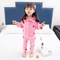 儿童睡衣女秋冬1岁0女宝宝珊瑚绒2女童纯棉长袖3加厚法兰绒家居服