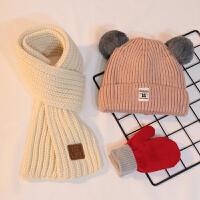 三件套秋冬婴儿宝宝加绒帽子围巾儿童男针织帽女公主可爱帽1-4岁2 15标帽 浅粉帽 +白巾+小红手套 均码