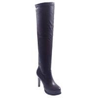 秋冬季新款欧美粗跟女靴防水台显瘦过膝长靴尖头跟加绒长筒靴真皮 黑色