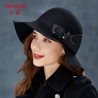 卡蒙全羊毛黑色女士帽子冬季时尚潮毛毡帽百搭大檐礼帽优雅毛呢帽 2774