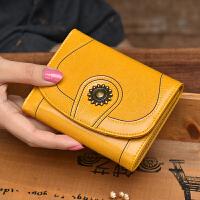 短款钱包女牛皮小钱包复古油腊皮三折女士钱包黑色竖款钱夹皮夹潮SN5750