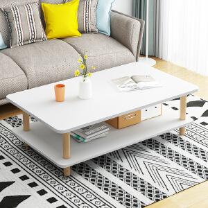 柏易 环保加厚简易长方形钢木茶几 沙发边桌小圆桌小茶几角几边几