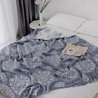 日本六层纯棉加厚毛巾被单双人柔软空调被全棉透气毛巾毯夏季被子毛毛被床毯垫溥毛毯床上铺的毛毯午休加厚毛 蓝色 6层圆圈