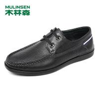 木林森男鞋(MULINSEN)男士透气舒适商务休闲皮鞋英伦系带时尚休闲打孔冲孔鞋87052763