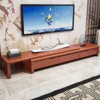实木电视柜茶几组合新中式现代简约伸缩型地柜家用客厅橡胶木家具