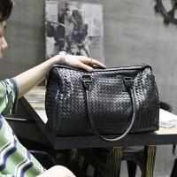 复古新款男包手提包男横款编织手拎包韩版潮男士包包休闲旅行包潮 黑色