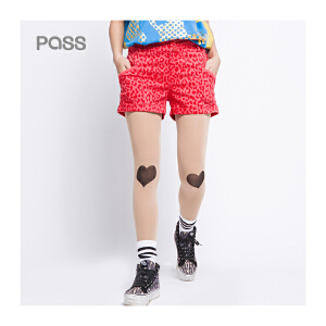 PASS原创潮牌夏装 时尚百搭牛仔短裤女6521835012