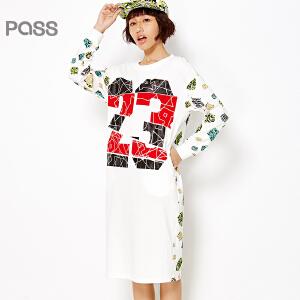 PASS原创潮牌春装新款 休闲拼接印花白色数字印花百搭连衣裙中长裙6612411014