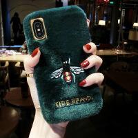 獭兔毛苹果x手机壳女xriPhone7plus冬季6s网红8保暖xs毛绒max iPhone X/XS (5.8)