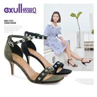 依思q夏季新款绒面一字扣韩版铆钉女鞋百搭细跟高跟凉鞋