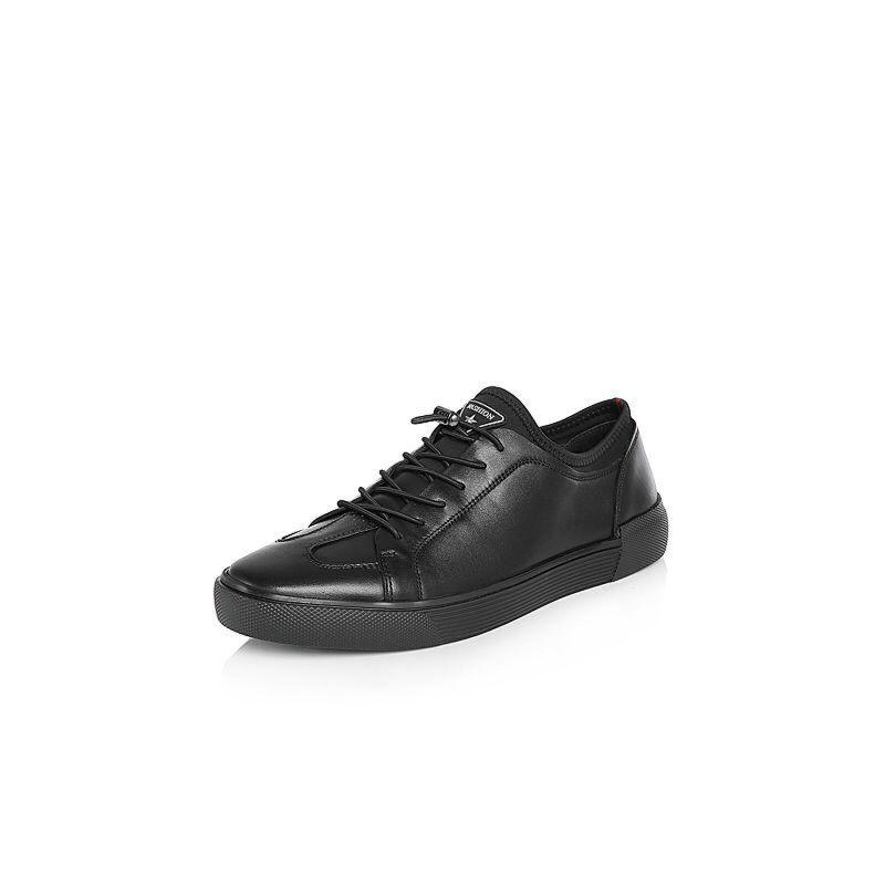 Belle/百丽2018春季新品专柜同款油皮牛皮革/纺织品男皮鞋B9904AM8