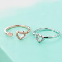 韩版戒指女小指尾戒 食指环镀银玫瑰金 甜美气质的爱心心心相印