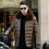 冬装新款中老年皮毛一体绵羊皮皮羽绒服狐狸毛领加厚中长款男装