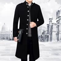 男士长版风衣秋冬季毛呢立领中长款外套韩版修身中山装妮子大衣潮 黑色 2X