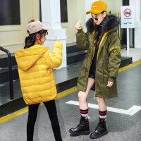 童装2018新款韩版洋气女童羽绒服加厚中长款儿童中大童冬装外套潮