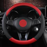 汽车用品 现代悦纳方向盘套领动手缝方向盘悦纳RV手缝车用把套内饰改装 军致301黑 红色方向盘套