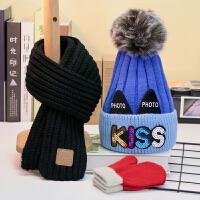 三件套秋冬�和�男加�q��帽子��巾套�b可�酃�主女������毛�帽 拼色 �{+�\�{ 加�qKISS帽 +黑巾+�t手套 均�a