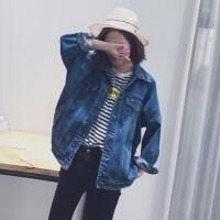 春装2018新款韩版 大码宽松蝙蝠袖学生牛仔衣外套女夹克中长款上