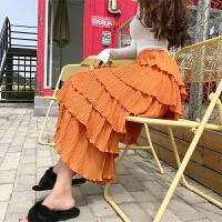 2018春夏新款时尚多层次裙高腰荷叶边蓬蓬中长裙雪纺半身裙