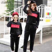 儿童冬装女童金丝绒套装2018新款中大童韩版时尚潮衣运动装两件套