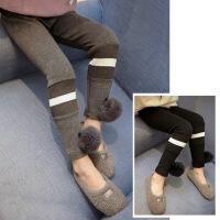 冬装新款女童打底裤弹力修身小脚铅笔裤童装毛球装饰长裤A9-T23